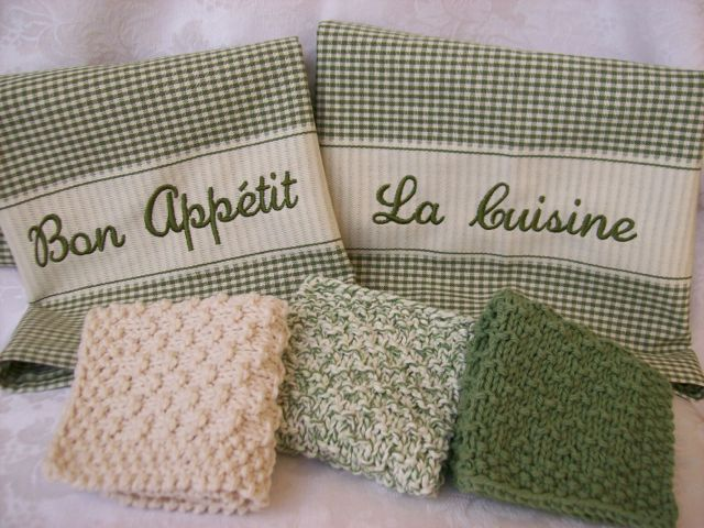 French Country Kitchen, Bath & Home - Hand Knit Wash Cloths, Dish ...